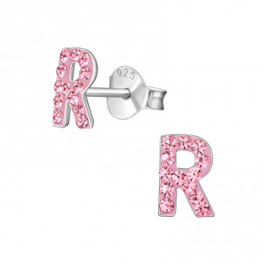 """""""R"""" - 925 Sterling Silver Ear Studs With Crystals A4S40676"""