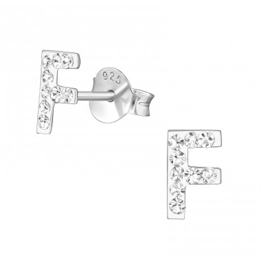 """""""F"""" - 925 Sterling Silver Ear Studs With Crystals A4S40677"""