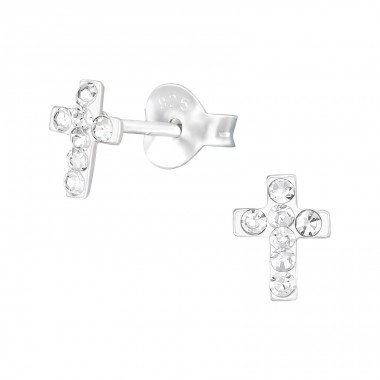 Cross - 925 Sterling Silver Ear studs with crystals A4S40682