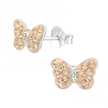 Butterfly - 925 Sterling Silver Ear studs with crystals A4S40751