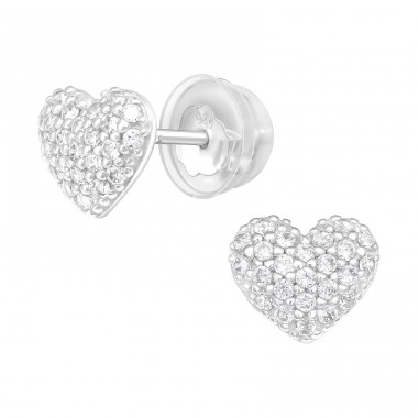 Heart - 925 Sterling Silver Ear studs with crystals & Zirconia A4S40913