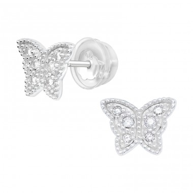 Butterfly - 925 Sterling Silver Ear studs with crystals & Zirconia A4S40914