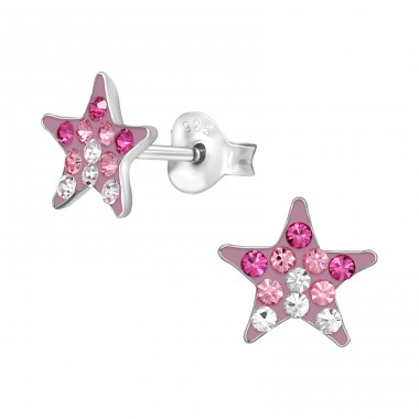 Rose star - 925 Sterling Silver Ear Studs With Crystals A4S40989