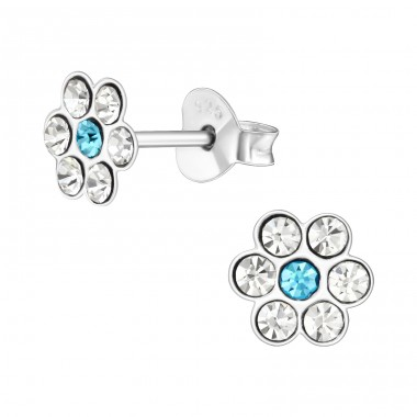 Flower - 925 Sterling Silver Ear studs with crystals A4S41021