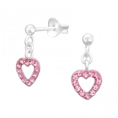 Hanging Heart - 925 Sterling Silver Ear studs with crystals A4S41026