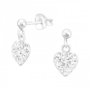 Hanging Heart - 925 Sterling Silver Ear studs with crystals A4S41027