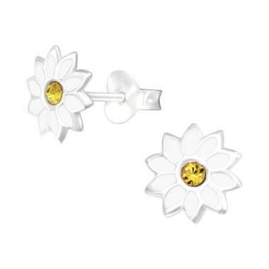 Flower - 925 Sterling Silver Ear studs with crystals A4S41082