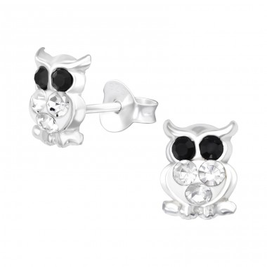Owl - 925 Sterling Silver Ear studs with crystals A4S41085