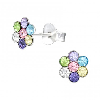 Flower - 925 Sterling Silver Ear studs with crystals A4S41092