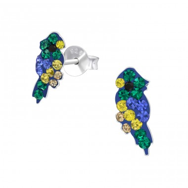 Parrot - 925 Sterling Silver Ear studs with crystals A4S41128