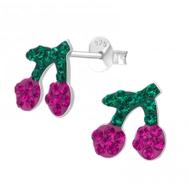 Cherry - 925 Sterling Silver Ear studs with crystals A4S41129
