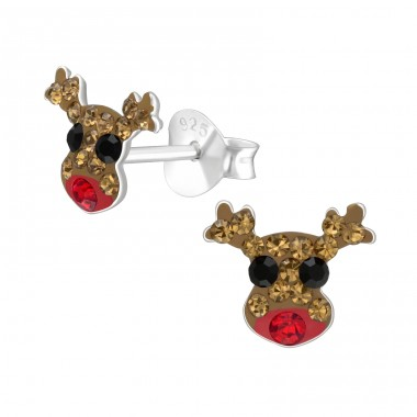 Reindeer - 925 Sterling Silver Ear studs with crystals A4S41130