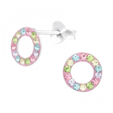 Circle - 925 Sterling Silver Ear studs with crystals A4S41131