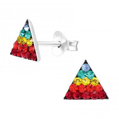 Multicolor Triangle - 925 Sterling Silver Ear Studs With Crystals A4S41132
