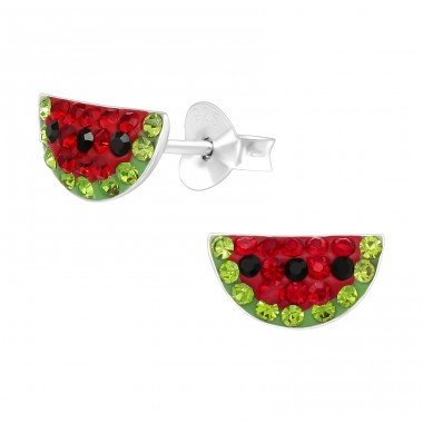 Watermelon - 925 Sterling Silver Ear studs with crystals A4S41133