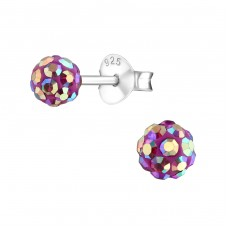 Ball - 925 Sterling Silver Crystal Ear Studs A4S4129