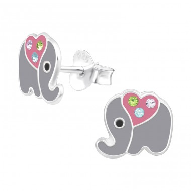 Elephant - 925 Sterling Silver Ear studs with crystals A4S41497