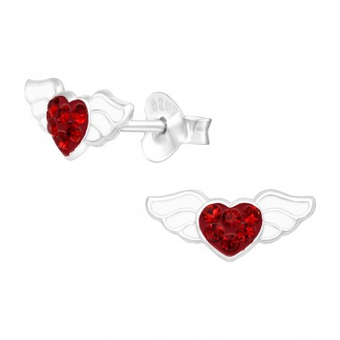 Heart with wings - 925 Sterling Silver Ear Studs With Crystals A4S41500