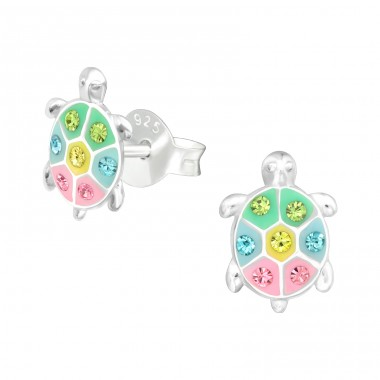 Turtle - 925 Sterling Silver Ear studs with crystals A4S41507