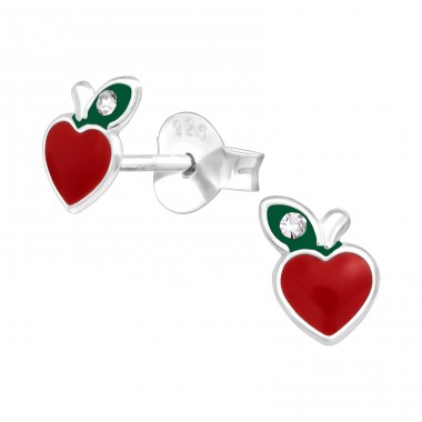 Apple - 925 Sterling Silver Ear studs with crystals A4S41509