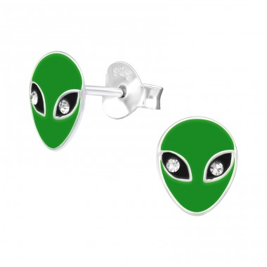 Green Alien - 925 Sterling Silver Ear Studs With Crystals A4S41513