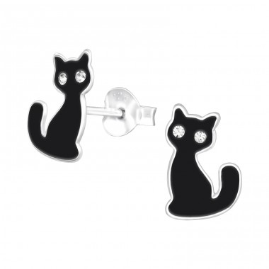 Black Cat - 925 Sterling Silver Ear studs with crystals A4S41515