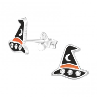 Witch Hat - 925 Sterling Silver Ear studs with crystals A4S41516