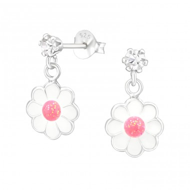 Hanging Flower - 925 Sterling Silver Ear studs with crystals A4S41602