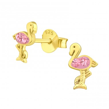 Golden Flamingo - 925 Sterling Silver Ear Studs With Crystals A4S41640