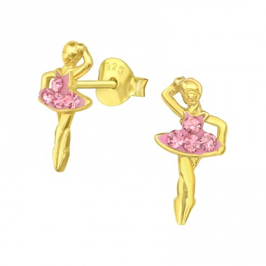 Golden Ballerina with pink crystals - 925 Sterling Silver Ear Studs With Crystals A4S41756