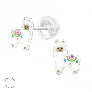Alpaca - 925 Sterling Silver Ear studs with crystals A4S41928