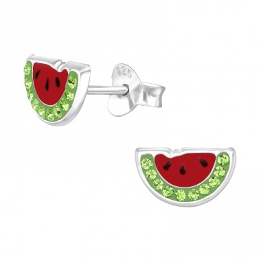 Watermelon - 925 Sterling Silver Ear studs with crystals A4S42143