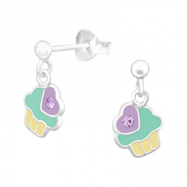Hanging Cupcake - 925 Sterling Silver Ear studs with crystals A4S42172