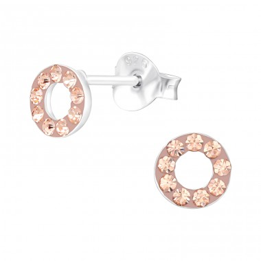 Circle - 925 Sterling Silver Ear studs with crystals A4S42185