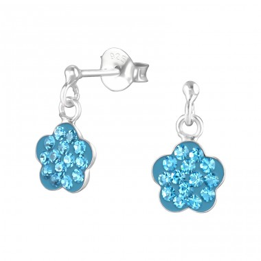 Flower - 925 Sterling Silver Crystal Ear Studs A4S4252