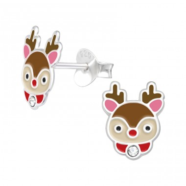Reindeer with crystal - 925 Sterling Silver Ear Studs With Crystals A4S42546