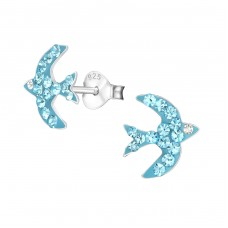 Blue Swallow - 925 Sterling Silver Crystal Ear Studs A4S4259