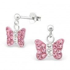 Butterfly - 925 Sterling Silver Crystal Ear Studs A4S4587