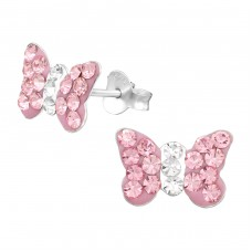 Butterfly - 925 Sterling Silver Crystal Ear Studs A4S4944