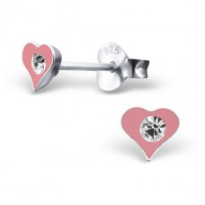 Heart - 925 Sterling Silver Crystal Ear Studs A4S5047