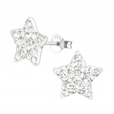 Star - 925 Sterling Silver Crystal Ear Studs A4S5126