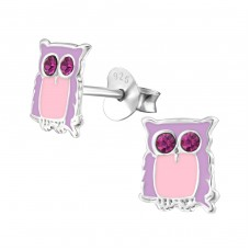 Owl - 925 Sterling Silver Crystal Ear Studs A4S5802