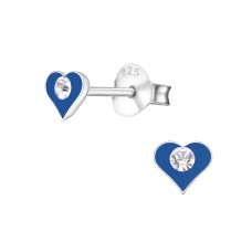 Heart - 925 Sterling Silver Crystal Ear Studs A4S6055