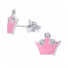 Crown - 925 Sterling Silver Crystal Ear Studs A4S7343