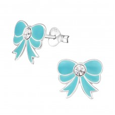 Bow - 925 Sterling Silver Crystal Ear Studs A4S7345