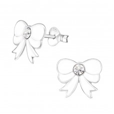 Bow - 925 Sterling Silver Crystal Ear Studs A4S7347