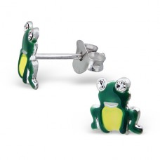 Frog - 925 Sterling Silver Crystal Ear Studs A4S7348