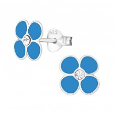 Flower - 925 Sterling Silver Crystal Ear Studs A4S7365