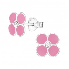 Flower - 925 Sterling Silver Crystal Ear Studs A4S7366