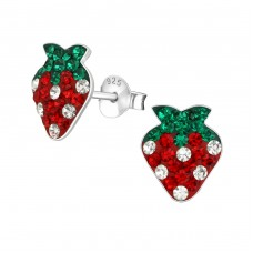 Strawberry - 925 Sterling Silver Crystal Ear Studs A4S9591